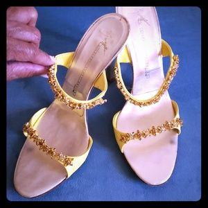 Giuseppe zanotti crystal & leather gold high heel